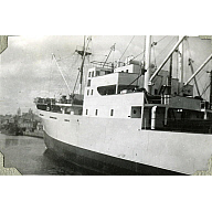 Black and White Photograph in album of ship 'Aberdonian Coast' in Aberdeen Harbour