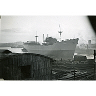 Black and White Photograph in album of 'Vikdal' launched from Hall Russell's shipyard