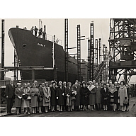 Black and white photograph showing guests at launch of 'spray'