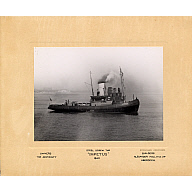 Black and white photograph Showing The Steel Screw Tug 'Impetus' Built by Alex Hall For The Admiralty in 1940