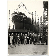 Launch/Completion of the Collier 'Dulwich' built at Hall Russell, 1957