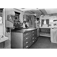 Black and white photograph showing interior of cargo vessel 'Abel Tasman' Built by Hall Russell in 1957