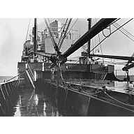 Black and white photograph of cargo vessel 'Abel Tasman' Built by Hall Russell in 1957