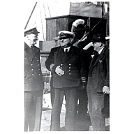photograph taken aboard 'St Ola' (I) at Stromness showing captain and harbour officials