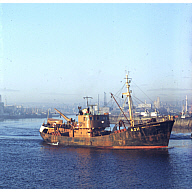 colour slide showing the trawler Aberdeen Distributor in Aberdeen harbour