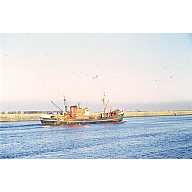colour slide showing the trawler Seaward Petrel in Aberdeen harbour
