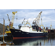 colour slide showing the trawler Gilia in Aberdeen harbour