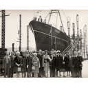 Black and white photograph showing the launch of the trawler Prince Philip (905) at Hall Russell shipyard
