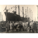 Black & white photograph of launch of trawler, Star of the Isles (A441) at Hall Russell & Co.