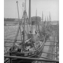 Glass plate showing four steam trawlers in the graving dock, Aberdeen Harbour