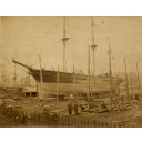 sepia toned photograph of clipper 'prince alfred' under construction