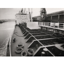 Black and white photograph of the upper deck on the Chemical Tanker Silverharrier