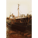 Colour Photograph Showing The Trawler 'david John' In Dry Dock